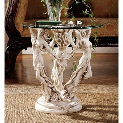 Design Toscano The Muses Glass-Topped Sculptural Table
