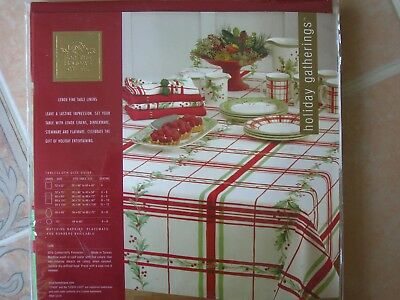 "NEW Lenox for the Holiday Gathering TABLECLOTH 52"" x 70"" Rectangular Plaid Holly"