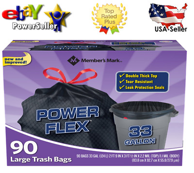 Member's Mark 33-Gallon Power-Guard Drawstring Trash Bags (90 ct.)-100%Authentic