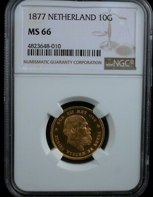 1877 Netherland 10G Ngc Ms 66 1877 Netherlands 10 Gulden Gold Coin