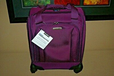 Samsonite Spinner Rolling Carry-On Luggge UnderSeat Tote with USB Port Purple
