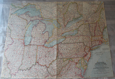 Map Northeastern United States Incl. Great Lakes Region 1959