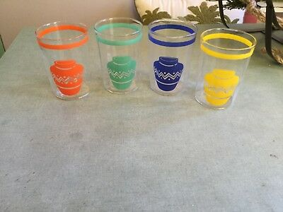 vintage fiesta red,cobalt,yellow,green Mexican jar glass tumblers