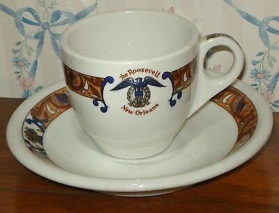 ROOSEVELT HOTEL CUP and SAUCER Demitasse Expresso New Orleans Coffee La