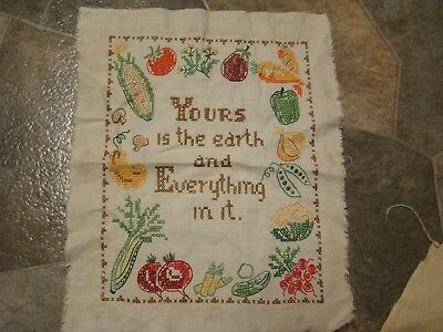 """Vintage Sampler* Hand Embroidery*""""yours Is The Earth"""" Fruit,vegetables* 16 By 13"""