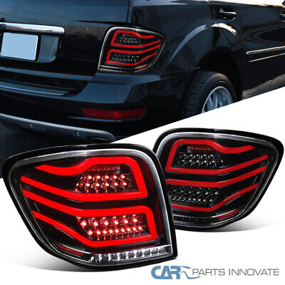 For 06-11 Benz W164 ML-Class Pearl Black Full LED Tail Lights Brake Lamps Pair