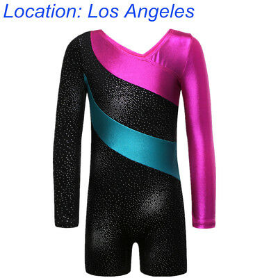 US Warehouse 3-16Y Kid Girls Gymnastic Leotards Long Sleeve Training Cloth Sport