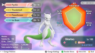 Pokemon Lets go Shiny Mewtwo Lv100 6iv ready for battle Let's go