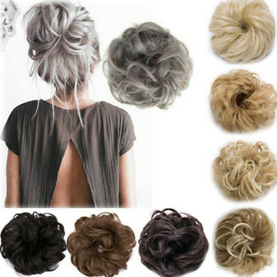 Curly Messy Bun Hair Piece Scrunchie Cover Hair Extensions Real Human Wig Hair J