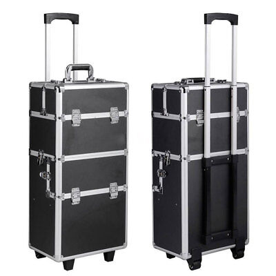 3 in 1 Rolling Makeup Case Aluminum Hair Stylist Train Trolley Wheel Organizer