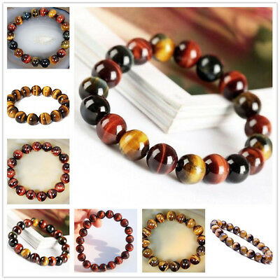 6 /8/10/ 12mm Natural Colorful Tiger's Eye Gems Round Beads Bangle Bracelet AAA