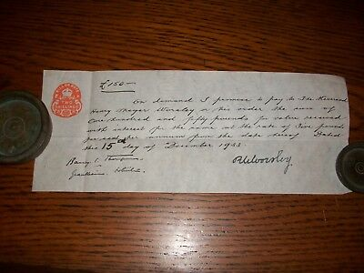 1933, Promissory Note: R.w. Worsley - Rev Henry Meyer Worsley + Grantham.