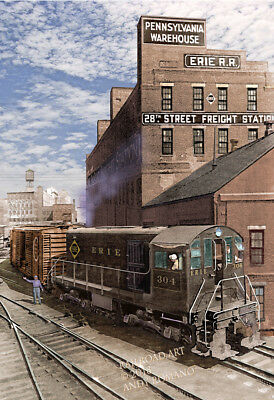 ERIE RAILROAD ALCo HH SWITCHER, ART BY ANDY ROMANO LIMITED 1st EDITION R18-385