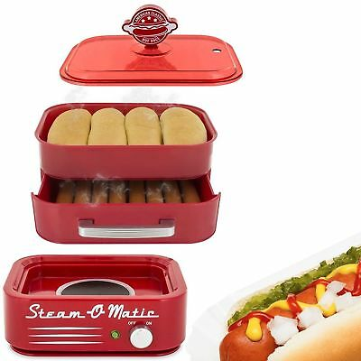 Hot Dog Steamer Machine Electric Food Warmer Buns Retro Cooker Bun Steaming Tray