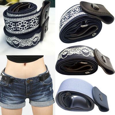 Unisex Leather Bucklefree Elastic Invisible Waist Belt No Bulge Hassle Waistband