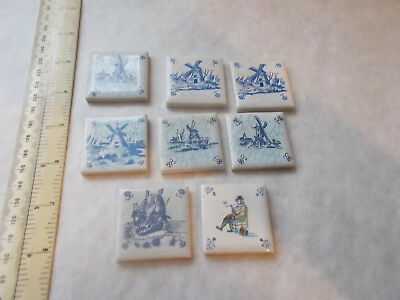 """Job Lot 8 Very Small Vintage Dutch Tiles. 1 1/2"""".  Sold As Seen. No Reserve"""