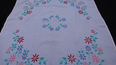 """Vintage Hand Embroidered Tablecloth - White Linen 32X33"""""""