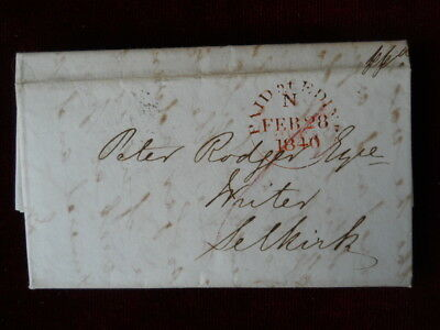 1840 Pre-Stamp Entire Letter, Red 'Paid' Edinburgh Frank & 'Too Late' Mark