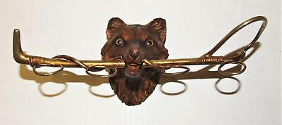 Antique Black Forest Carving Wood Fox Hunting Whip Wall Hang Stirrup Shot Glass