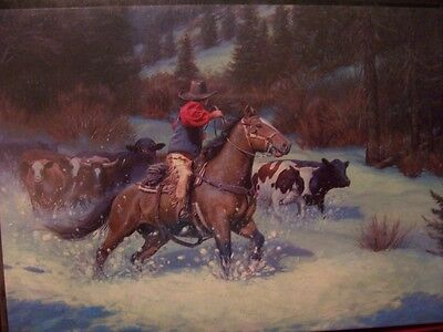 Leanin Tree Christmas Card Set Cowboy With His Herd 10 Pk New