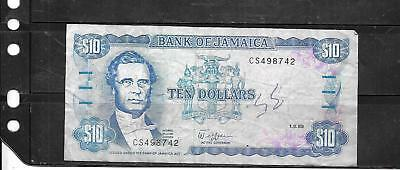 Jamaica #71C 1989 Vg Circ $10 Dollars Old Banknote Paper Money Currency Note