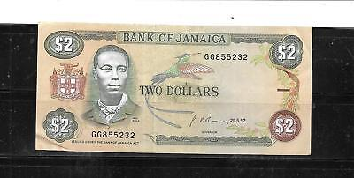 JAMAICA #69d 1990 $2 DOLLARS VG CIRC BANKNOTE PAPER MONEY CURRENCY BILL NOTE