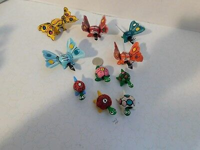 Lot of 10 Bobble Head Butterflies & Turtles-No Two alike-Hand Painted LOT-10