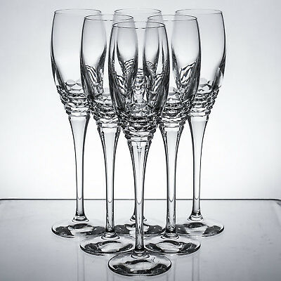 Edinburgh Crystal Portree 6 Six Champagne Flutes Glasses Signed 1sts