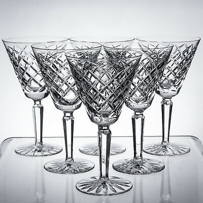 "Waterford Crystal Tyrone Vintage Six Large 7"" Wine / Water Goblets 1sts signed"