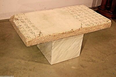 Chinese antique carved stone table Tang dynasty inscription marble pedestal BIG