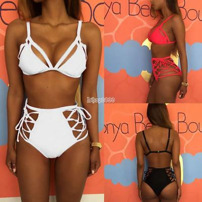 Women Strappy Bikini Set Two Piece Swimwear Lace Up High Waist Bottom IS