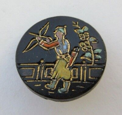 """Outstanding Antique~ Vtg Victorian Black GLASS Picture BUTTON Enameled 3/4"""" (N)"""