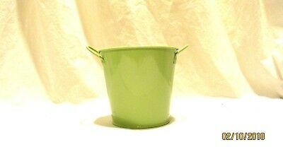 "Green Metal Bucket  Container 4"" crafts flowers"