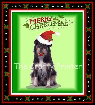 "CHRISTMAS DOG MAGNET - Australian Shepherd - ""Merry Christmas!"""