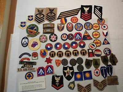 WW2 WWII US Army Air Force Army Infantry Navy Patch Lot Of 74 Items / All Nice