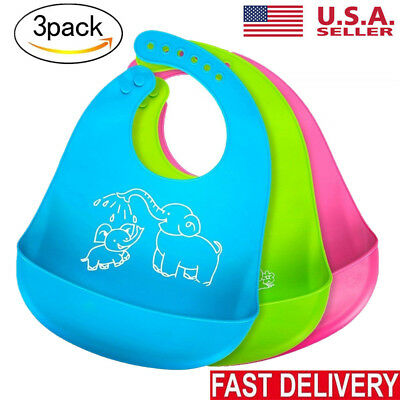 3 Waterproof Baby Silicone Bibs Feeding bib Kids Roll up Food Catcher Pocket