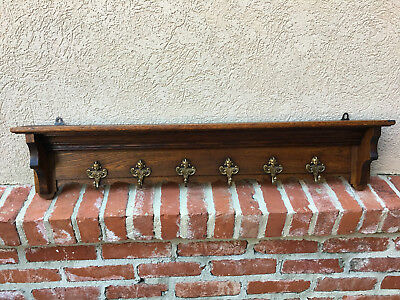 Antique French Country Carved Oak Wall Shelf Coat Hat Plate Rack BRASS Angel