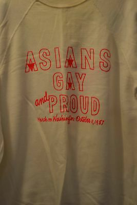 Vintage March On Washington 1987 Asians Gay And Proud Gay Pride Sweatshirt Med!!