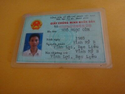 Socialist Republic Of Vietnam Photo ID Card Of A Man Issued Year 2002 Vintage