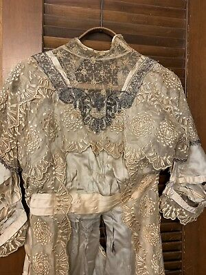 Antique Victorian French Ivory Lace VELVET SATIN/SILK Wedding Dress gown SALVAGE