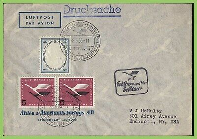 Germany 1955 (8.6) Lufthansa first flight cover, Dusseldorf to New York USA