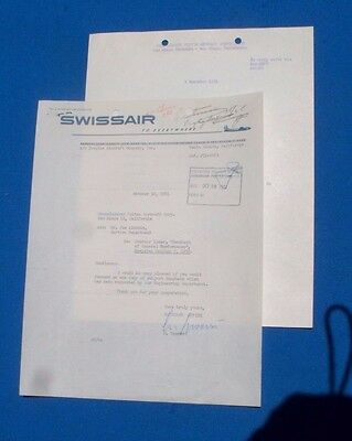 Swissair Airlines LETTER to Convair concerning booklet 1951 with response