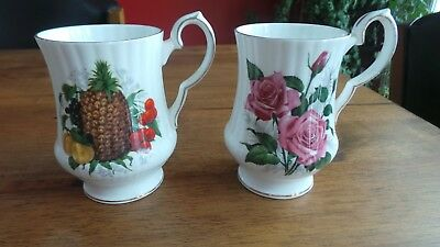 Royal Windsor fine bone china cups England  1 roses and 1 pineapple