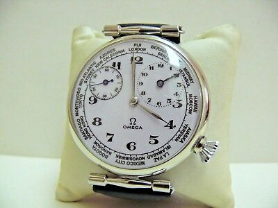 HIGH GRADE MEN'S CLASSIC STYLE Ω OMEGA WORLD TIME 15Jew.*SERVICED* NO RESERVED