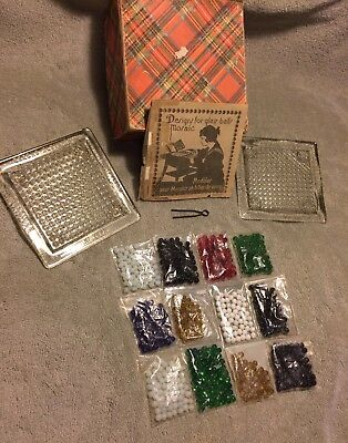 TWO VINTAGE GLASS BOARD MOSAIC SET/GAME made In Czechoslovakia