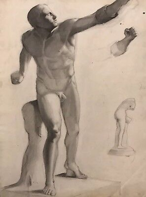 19Th Century French Classical Realist Atelier Academie Drawing Male Nude Model