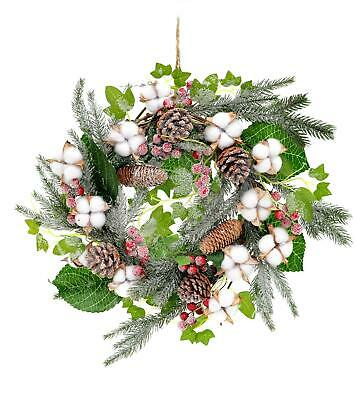 55cm Wreath Real Cotton Frosted Tips Pine Cones Berries Vintage Xmas Home Decor