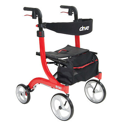 Drive Medical RTL10266 Nitro Adjustable Height Euro Style Rollator Walker, Red