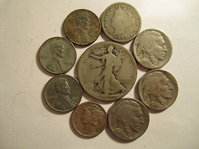 Lot of 9 US Type coins w/ Some 90% Silver Old US Coins Collection *3890
