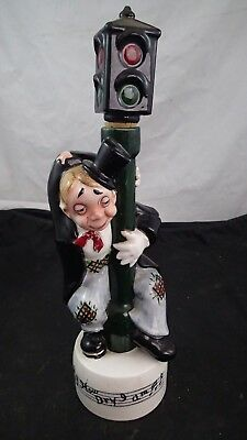 """VINTAGE """"How Dry I Am""""  Musical Base decanter Hobo Man At Stop Light Post"""